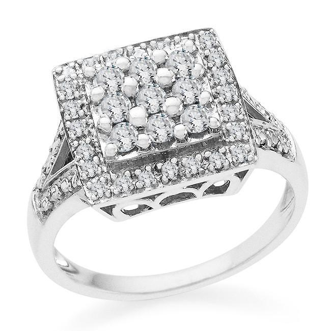 1/2 Carat Diamond Ring in Sterling Silver