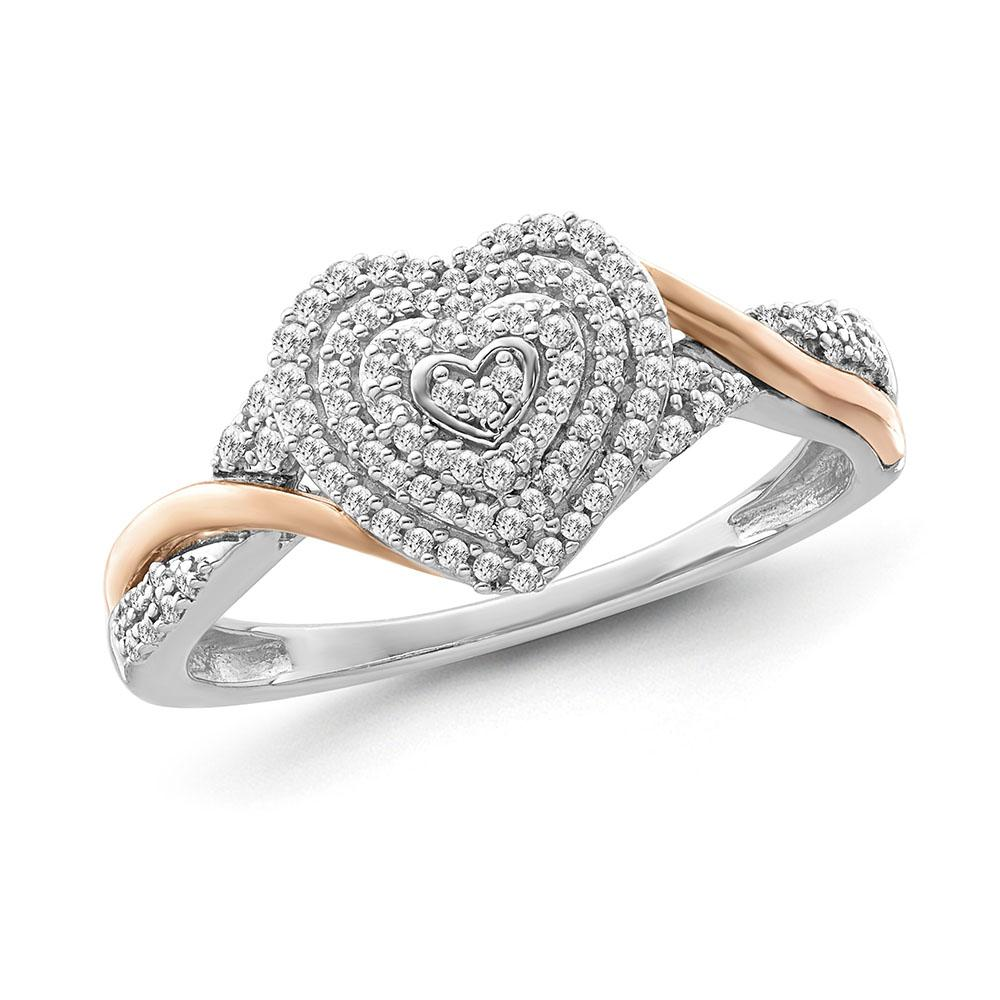 1/6 Carat Diamond Cluster Heart Ring in Two-Tone Sterling Silver