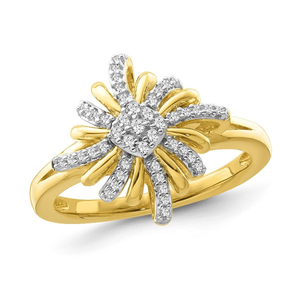 1/6 Carat Diamond Star Ring in Yellow Gold/Sterling Silver