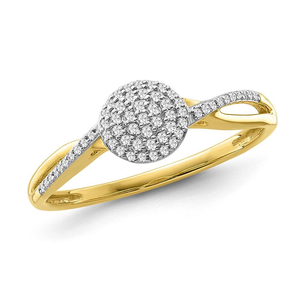 1/8 Carat Diamond Cluster Ring in Yellow Gold-Plated Sterling Silver