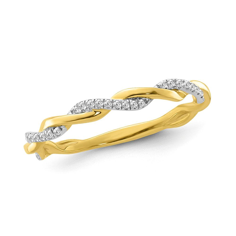 Diamond Accent Fashion Twisted Band in Yellow Gold-Plated Sterling Silver (0.05 Carat)