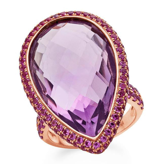 22 Carat Genuine Amethyst and Pink Sapphire Ring in 14K Rose Gold