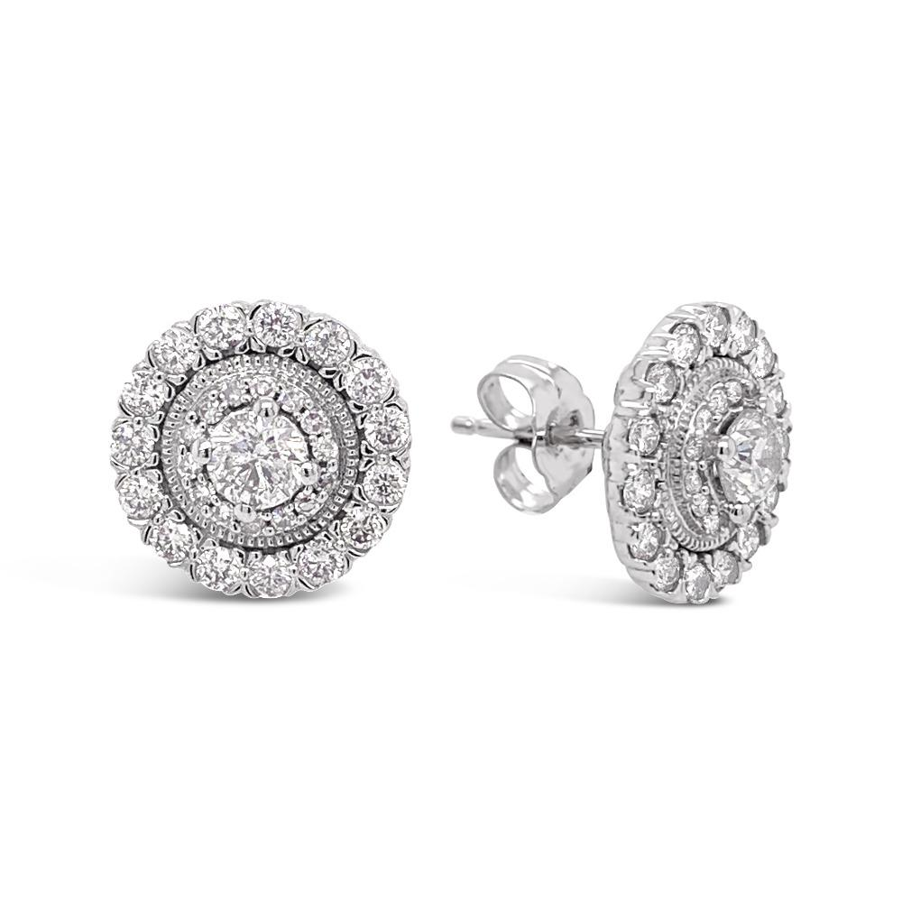 1.00 Carat Diamond Studs Earrings in 10K White Gold