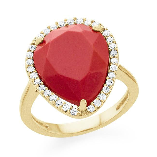 Genuine Coral Pear Fashion Ring