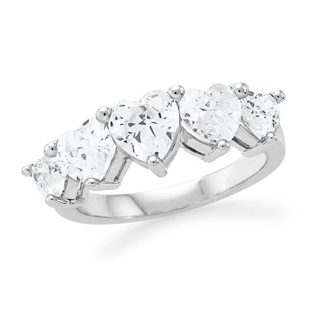 5-Stone Cubic Zirconia Fashion Heart Ring