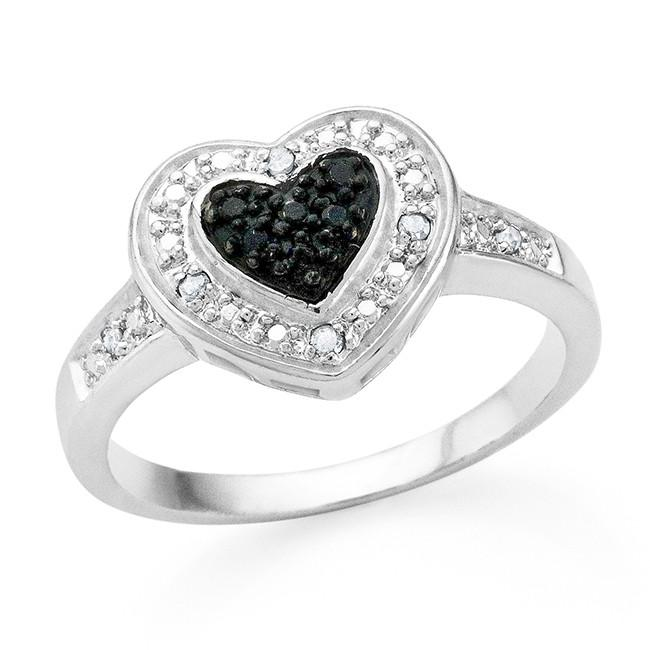 Black & White Diamond Accented Heart Ring in White Gold-Plated Bronze