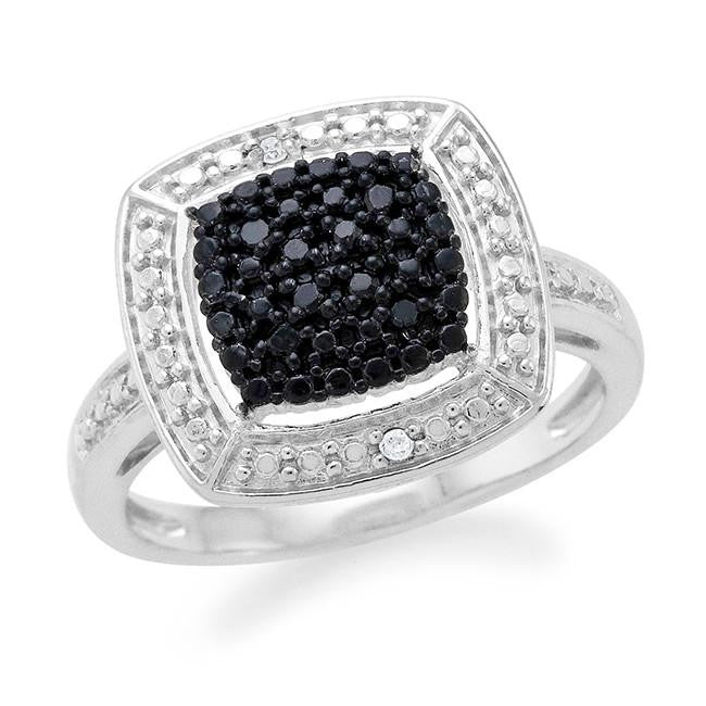 Black & White Diamond Square Fashion Ring