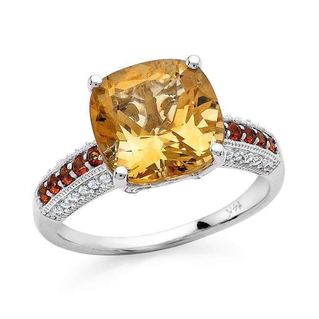 4.40 Carat Genuine Citrine & Madeira Citrine with White Sapphire Ring in 14K White Gold