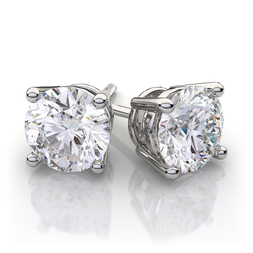 4.00 Carat Round Diamond 4-Prong Stud Earrings in 14K White Gold (J-K;VS)