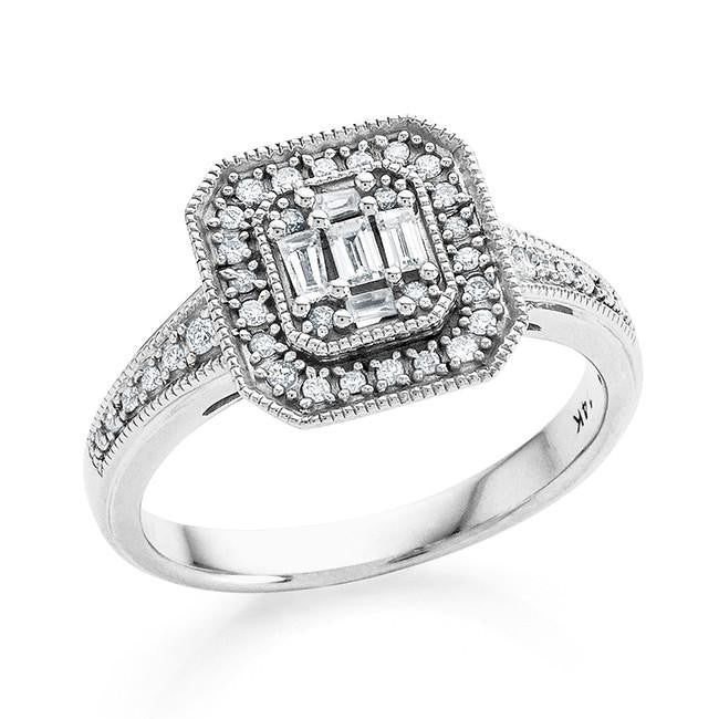 0.33 Carat Diamond Ring in 14K White Gold