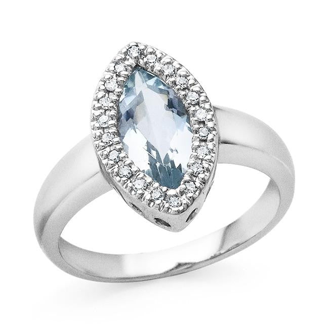1.60 Carat Aquamarine and Diamond Ring in 14K White Gold - Size 7