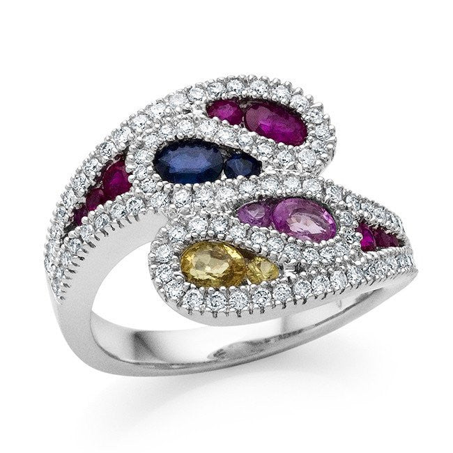 1.90 Carat Multicolor Sapphire and Diamond Ring in 18K White Gold - Size 7