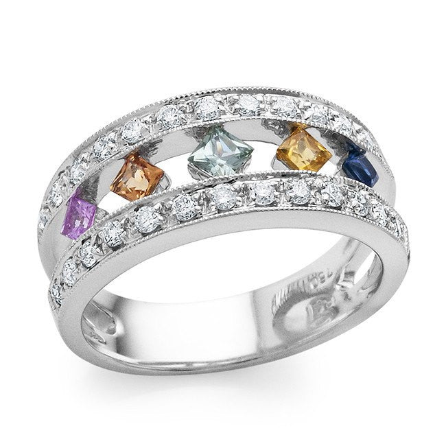 1.20 Carat Multicolor Sapphire and Diamond Ring in 18K White Gold - Size 7