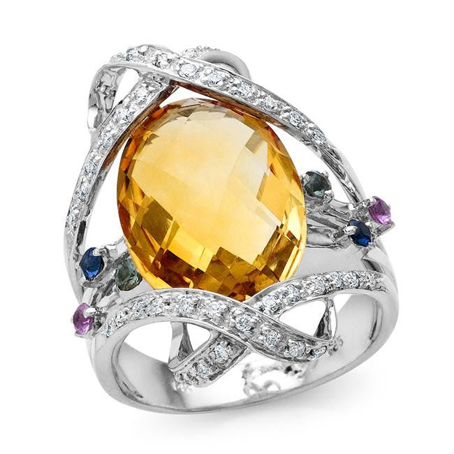 9.20 Carat Citrine, Multicolor Sapphire and Diamond Ring in 18K White Gold - Size 7