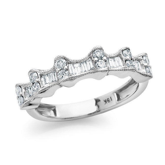 0.70 Carat Diamond Fashion Ring In 18K White Gold - Size 6.5