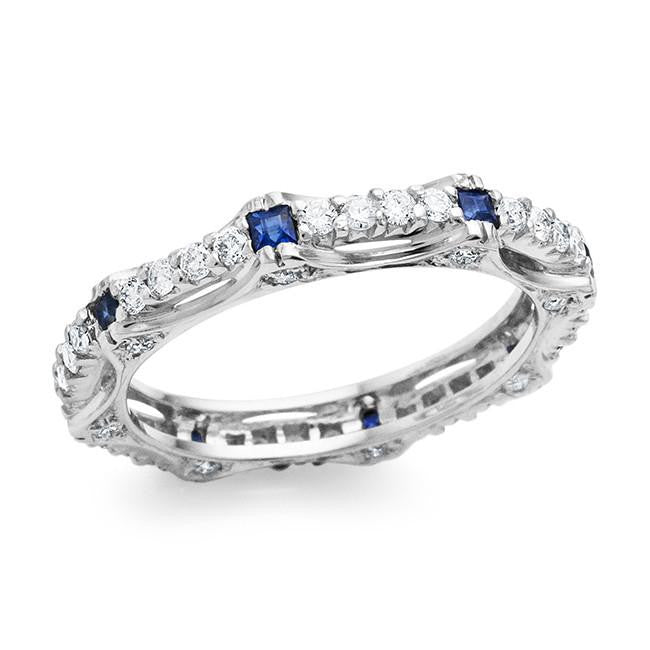 1.10 Carat Blue Sapphire and Diamond Ring in 18K White Gold - Size 7