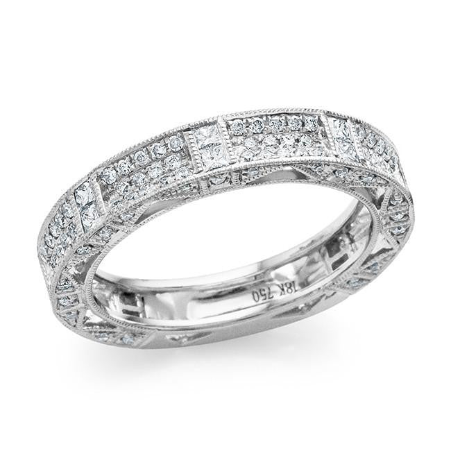 0.90 Carat Diamond Fancy Band in 18K White Gold - Size 7