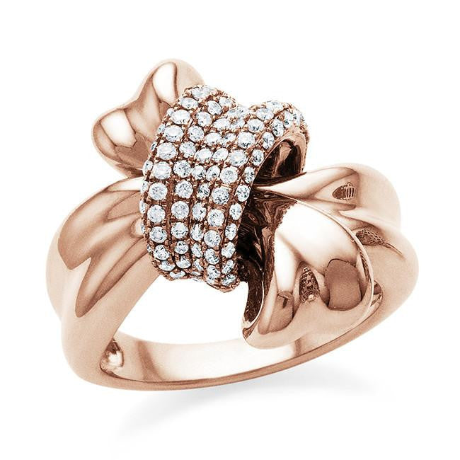 0.60 Carat Diamond Ribbon Ring in 18K Rose Gold - Size 7