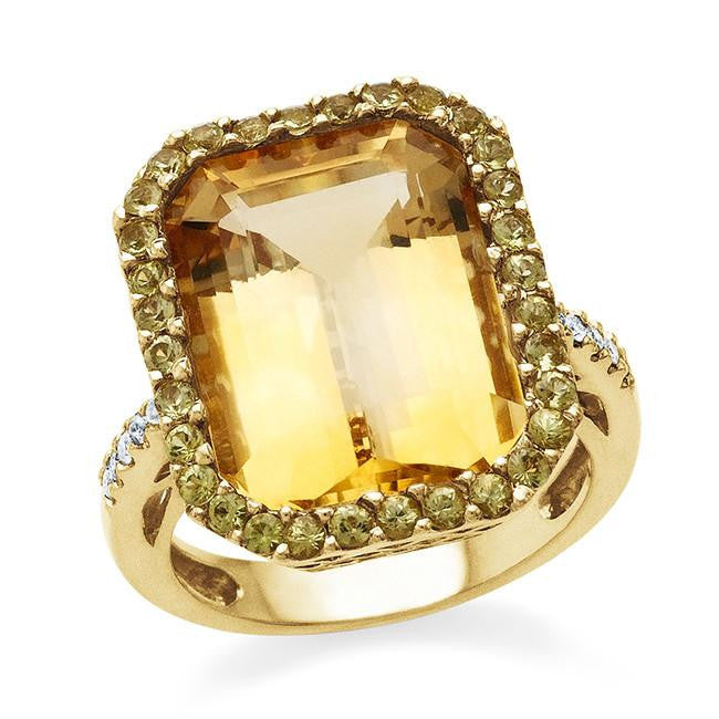 12.15 Carat Citrine and Yellow Sapphire Ring in 18K Yellow Gold - Size 6.5