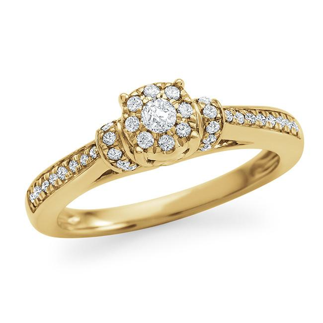 1/4 Carat Diamond Engagement Ring in 10K Yellow Gold (H-I/I2-I3)