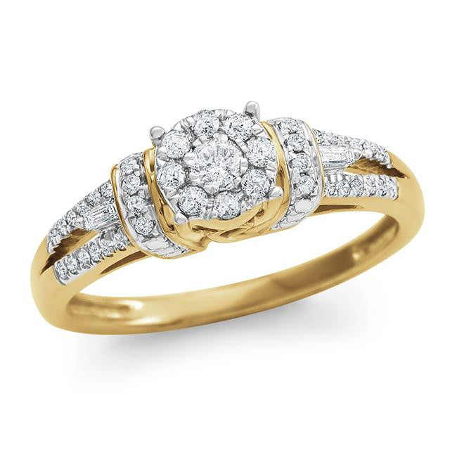 1/3 Carat Diamond Halo Ring in 10K Yellow Gold (H-I/I2)