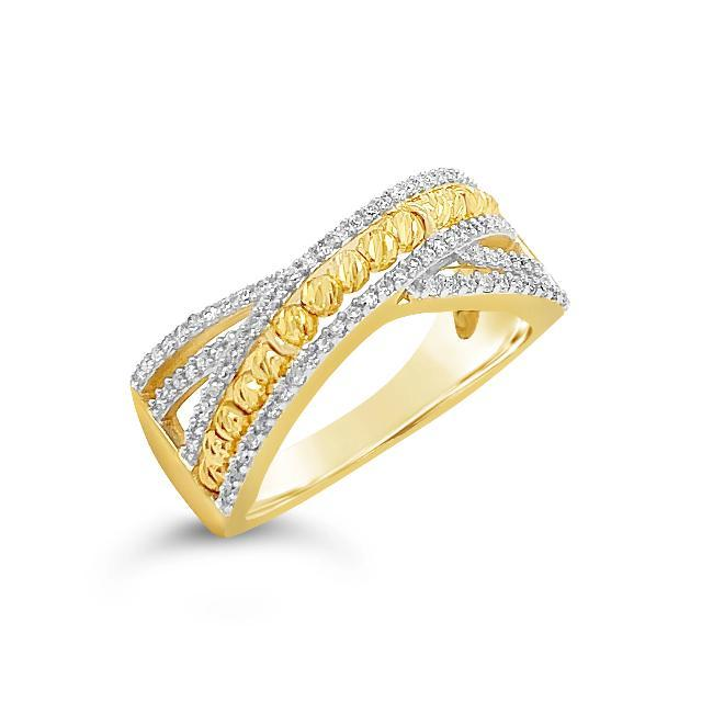 1/4 Carat Diamond & Beaded Crossover Band in 10K Yellow Gold