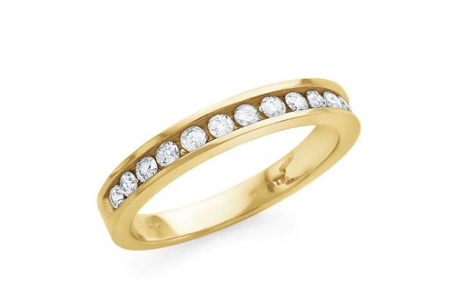 1/2 Carat Round Diamond Channel Set Band in 10K Yellow Gold (I-J/I2-I3)