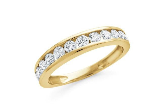 1.00 Carat Round Diamond Channel Set Band in 10K Yellow Gold (I-J/I2-I3)