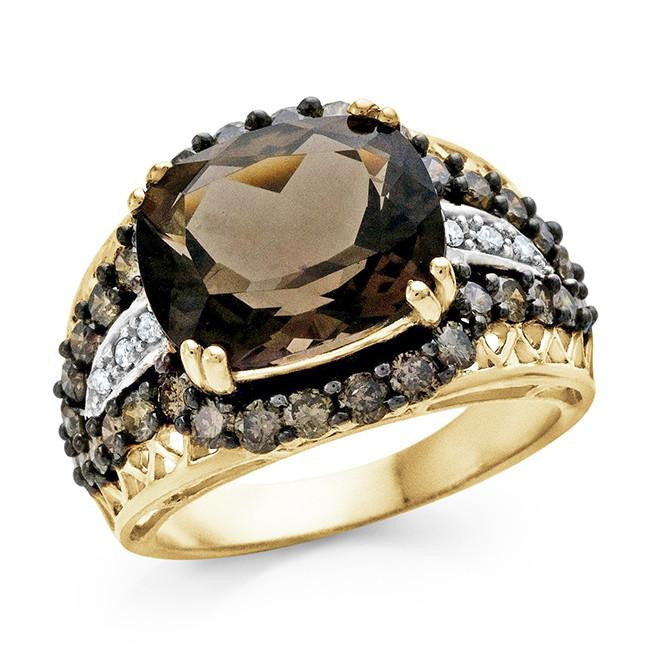 6.50 Carat Smoky Quartz and Champagne Diamond Ring in 10k Yellow Gold