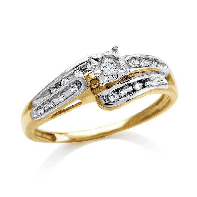 10K Gold Two-Tone Diamond Ring (0.11 Cttw) - Size 7