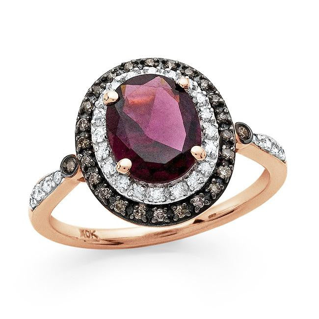 2.40 Carat Genuine Rhodolite with Champagne & White Diamonds in 10K Rose Gold