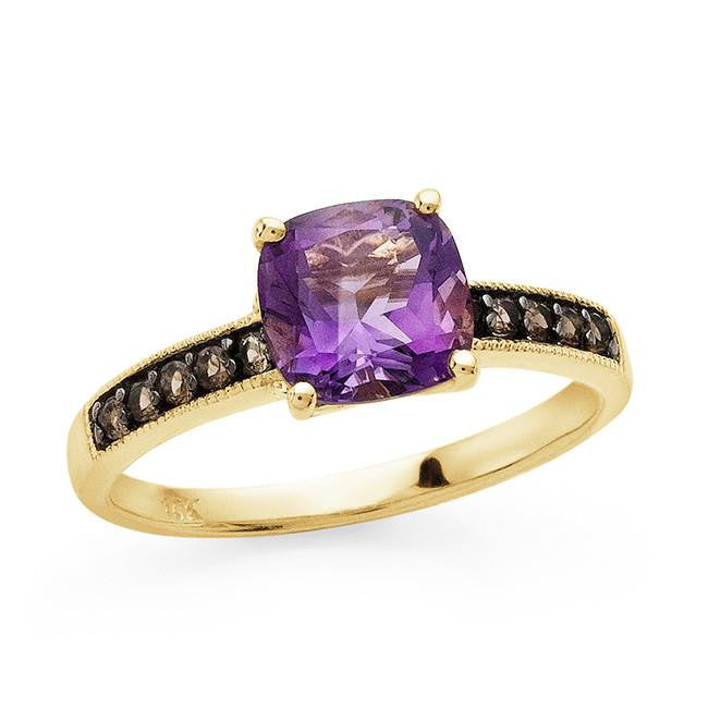 1.50 Carat Genuine Amethyst & Smokey Quartz Ring in 10K Yellow Gold