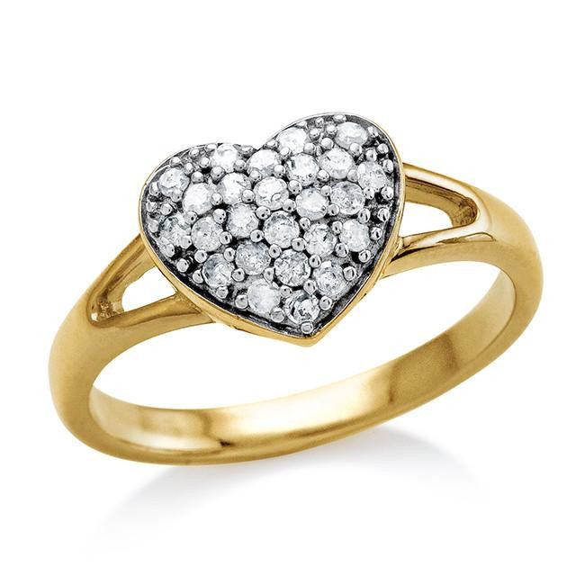 0.25 Carat Diamond Cluster Heart Ring in 10K Yellow Gold