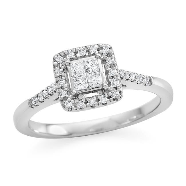 1/4 Carat Princess Cut Diamond Ring in 10K White Gold (H-I/I2-I3)