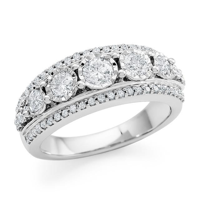 1.00 Carat Diamond Bridal Ring in 10K White Gold (H-I/I2-I3)