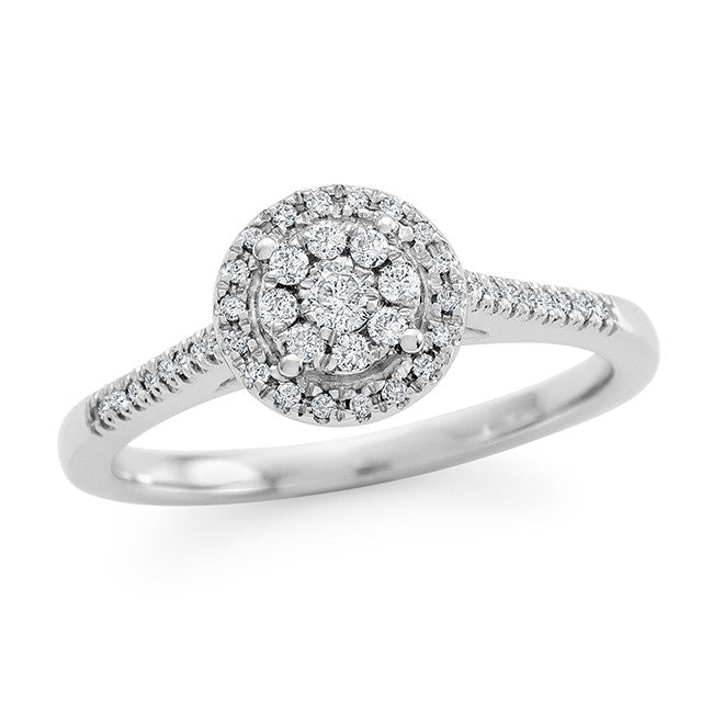 1/4 Carat Diamond Bridal Ring in 10K White Gold (H-I/I2-I3)