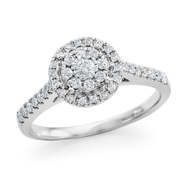 1/2 Carat Diamond Bridal Ring in 10K White Gold (H-I/I2-I3)
