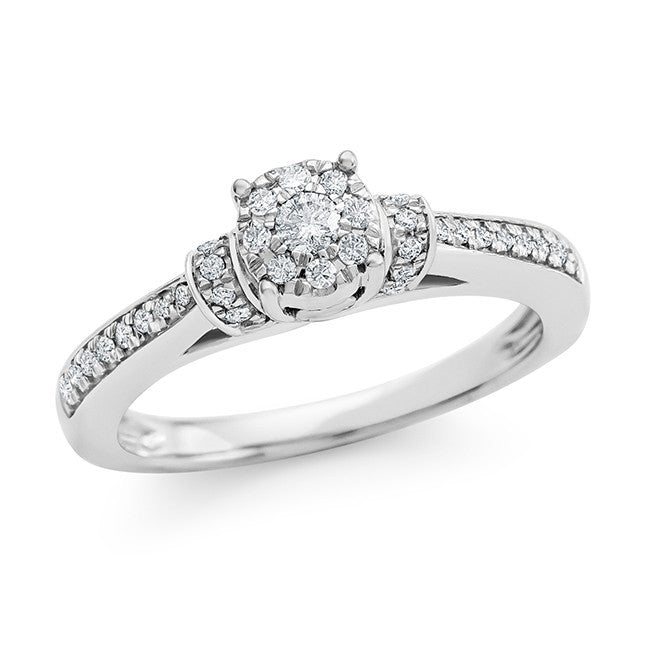 1/4 Carat Diamond Engagement Ring in 10K White Gold (H-I/I2-I3)