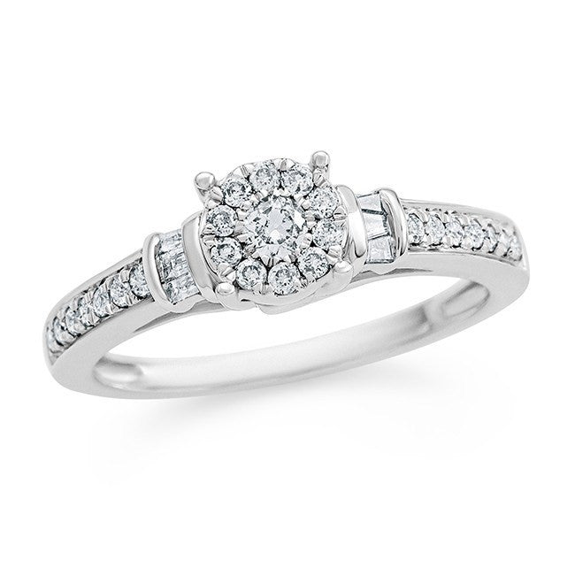 1/3 Carat Diamond Halo Ring in 10K White Gold (H-I/I2)