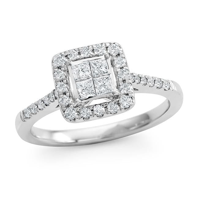 1/2 Carat Princess Cut Diamond Ring in 10K White Gold (H-I/I2)