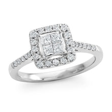 Load image into Gallery viewer, 1/2 Carat Princess Cut Diamond Ring in 10K White Gold (H-I/I2)