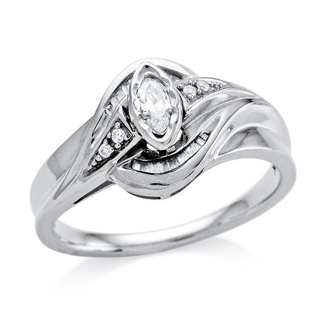 0.20 Carat Diamond Ring in 10K White Gold