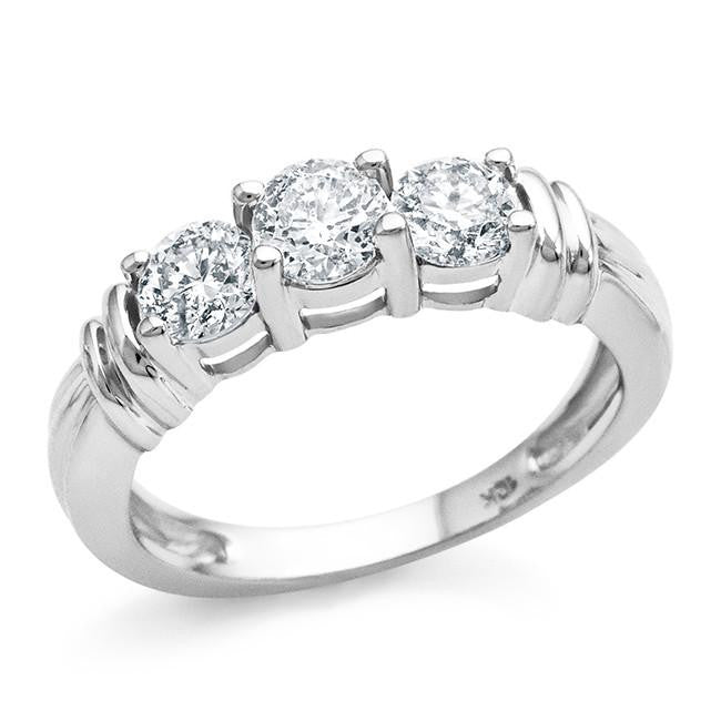 1.00 Carat 3-Stone Diamond Ring in 10k White Gold