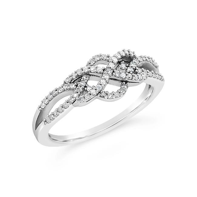 1/4 Carat Braided Fashion Ring in 10K White Gold