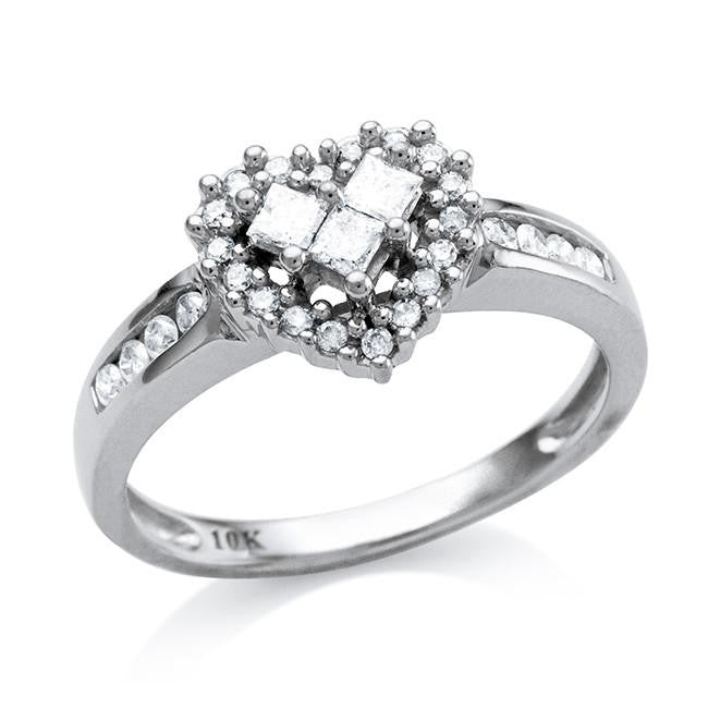 0.35 Carat Diamond Heart Ring in 10K White Gold - Size 7