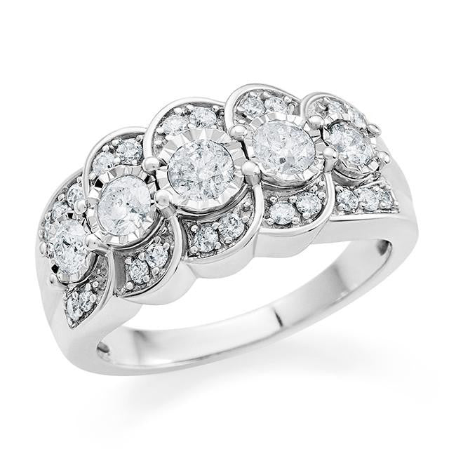 1.00 Carat Fashion Diamond Ring in 10K White Gold (H-I/I2-I3)