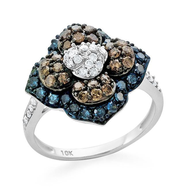 1.00 Carat Blue, Champagne & White Diamond Flower Ring in 10k White Gold