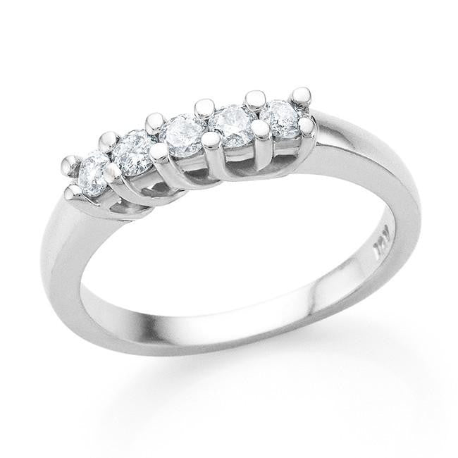 0.25 Carat 5-Stone Diamond Ring in 10K White Gold