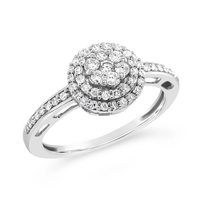 1/3 Carat Diamond Double Halo Cluster Ring in 10K White Gold