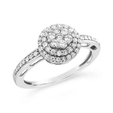 Load image into Gallery viewer, 1/3 Carat Diamond Double Halo Cluster Ring in 10K White Gold